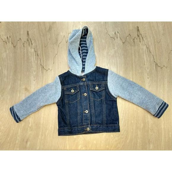3d5dac05099f Wrangler denim button up snap hoodie jacket 2T